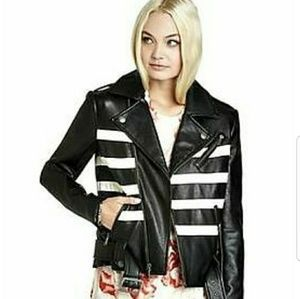 Bcbg black faux leather moto biker jacket